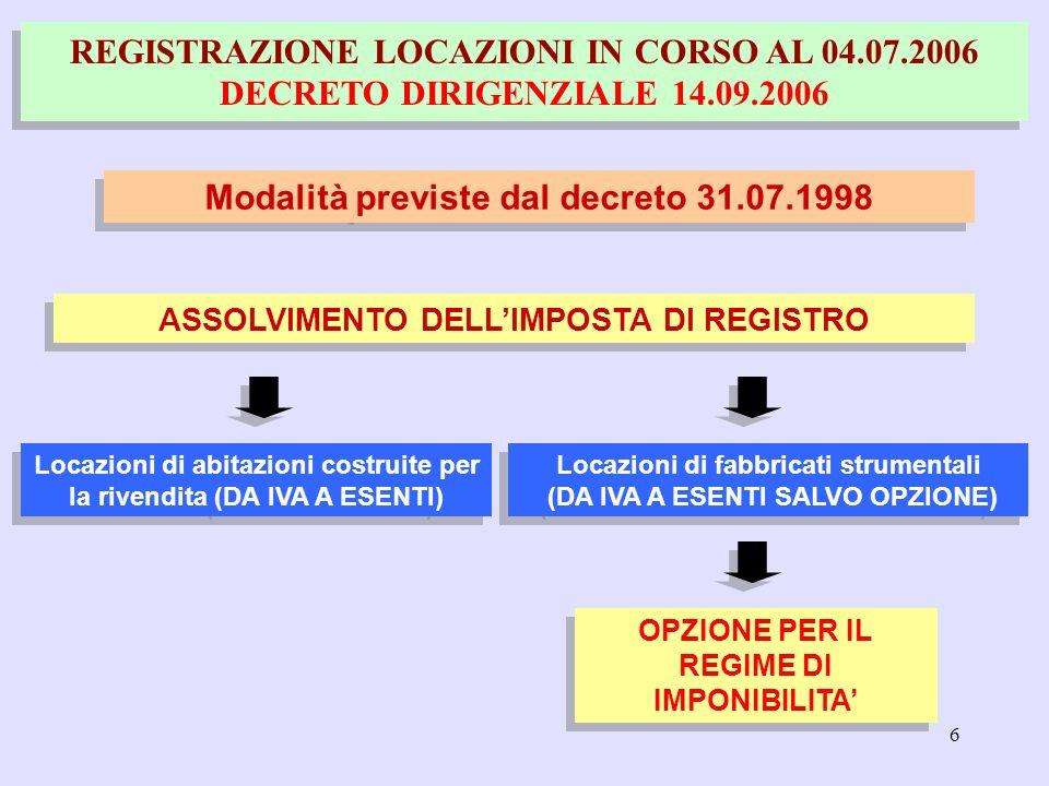 6 REGISTRAZIONE LOCAZIONI IN CORSO AL 04.07.2006 DECRETO DIRIGENZIALE 14.09.2006 Modalità previste dal decreto 31.07.1998 ASSOLVIMENTO DELLIMPOSTA DI