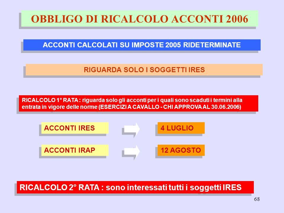 68 OBBLIGO DI RICALCOLO ACCONTI 2006 ACCONTI CALCOLATI SU IMPOSTE 2005 RIDETERMINATE ACCONTI IRAP 12 AGOSTO RIGUARDA SOLO I SOGGETTI IRES ACCONTI IRES