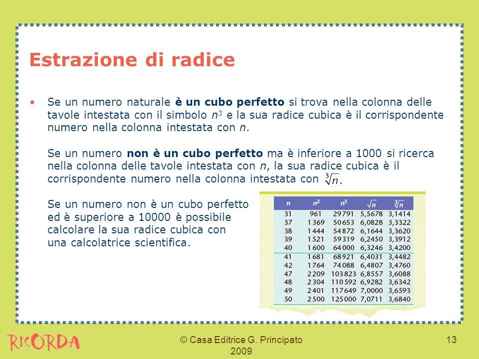 © Casa Editrice G. Principato 2009 13 Estrazione di radice Se un numero naturale è un cubo perfetto si trova nella colonna delle tavole intestata con