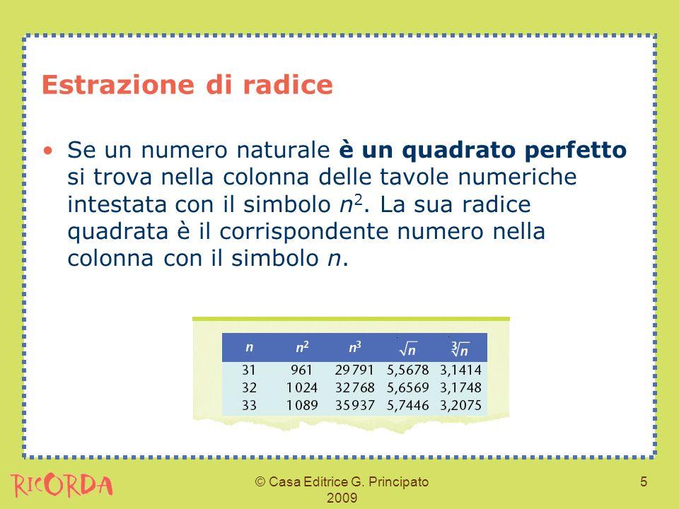 © Casa Editrice G. Principato 2009 5 Estrazione di radice Se un numero naturale è un quadrato perfetto si trova nella colonna delle tavole numeriche i
