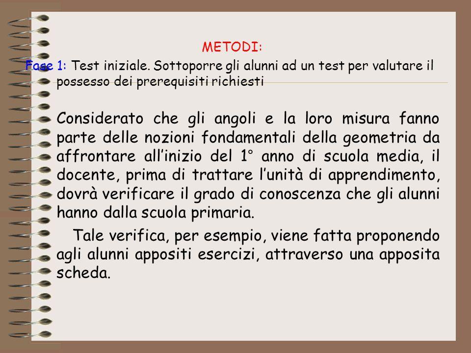 METODI: Fase 1: Test iniziale. Sottoporre gli alunni ad un test per valutare il possesso dei prerequisiti richiesti Considerato che gli angoli e la lo