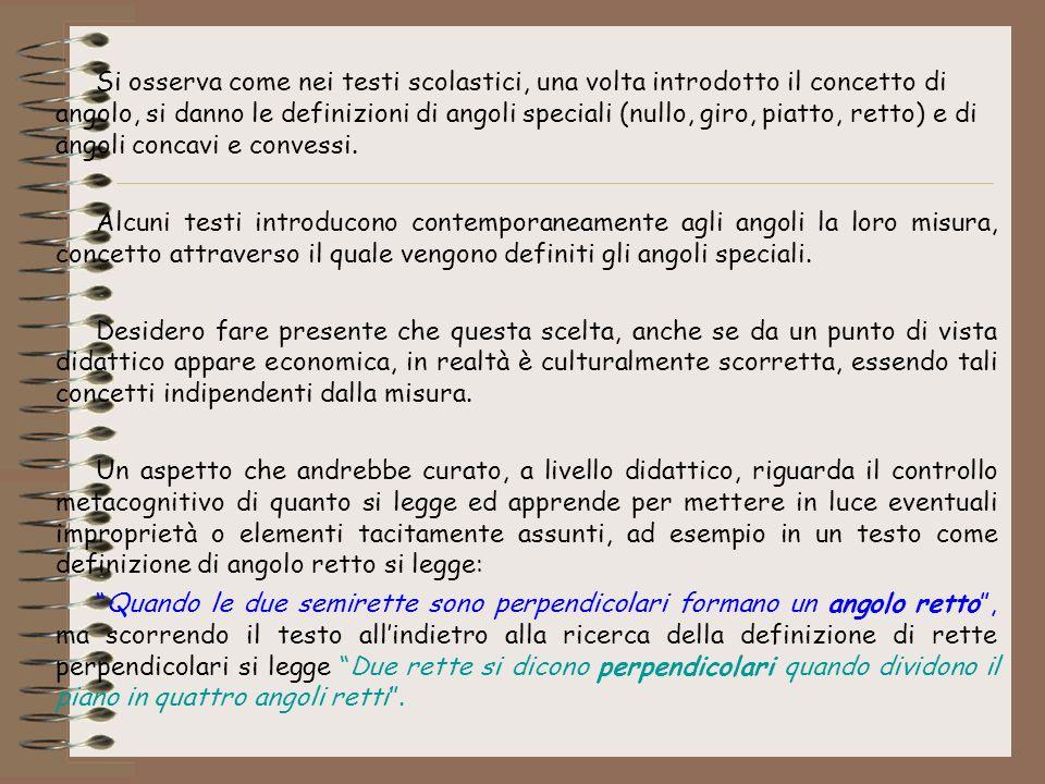Si osserva come nei testi scolastici, una volta introdotto il concetto di angolo, si danno le definizioni di angoli speciali (nullo, giro, piatto, ret