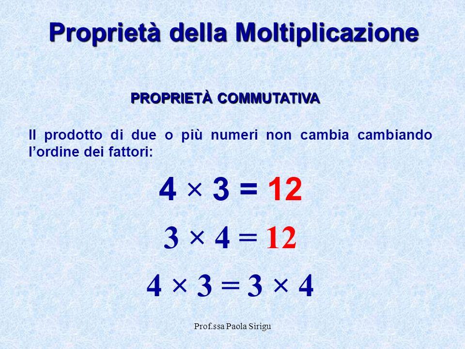 Prof.ssa Paola Sirigu Proprietà della Moltiplicazione Il prodotto di due o più numeri non cambia cambiando lordine dei fattori: 4 × 3 = 12 3 × 4 = 12