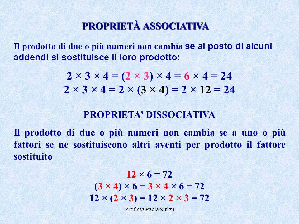 Prof.ssa Paola Sirigu Il prodotto di due o più numeri non cambia se al posto di alcuni addendi si sostituisce il loro prodotto: 2 × 3 × 4 = (2 × 3) ×
