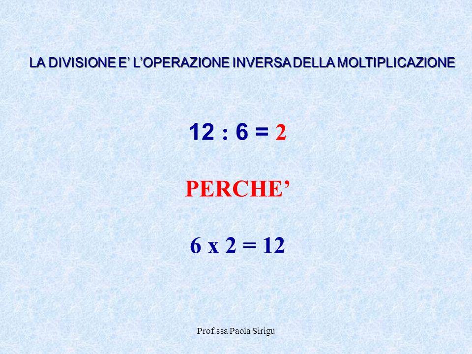 Prof.ssa Paola Sirigu 12 : 6 = 2 PERCHE 6 x 2 = 12 LA DIVISIONE E LOPERAZIONE INVERSA DELLA MOLTIPLICAZIONE