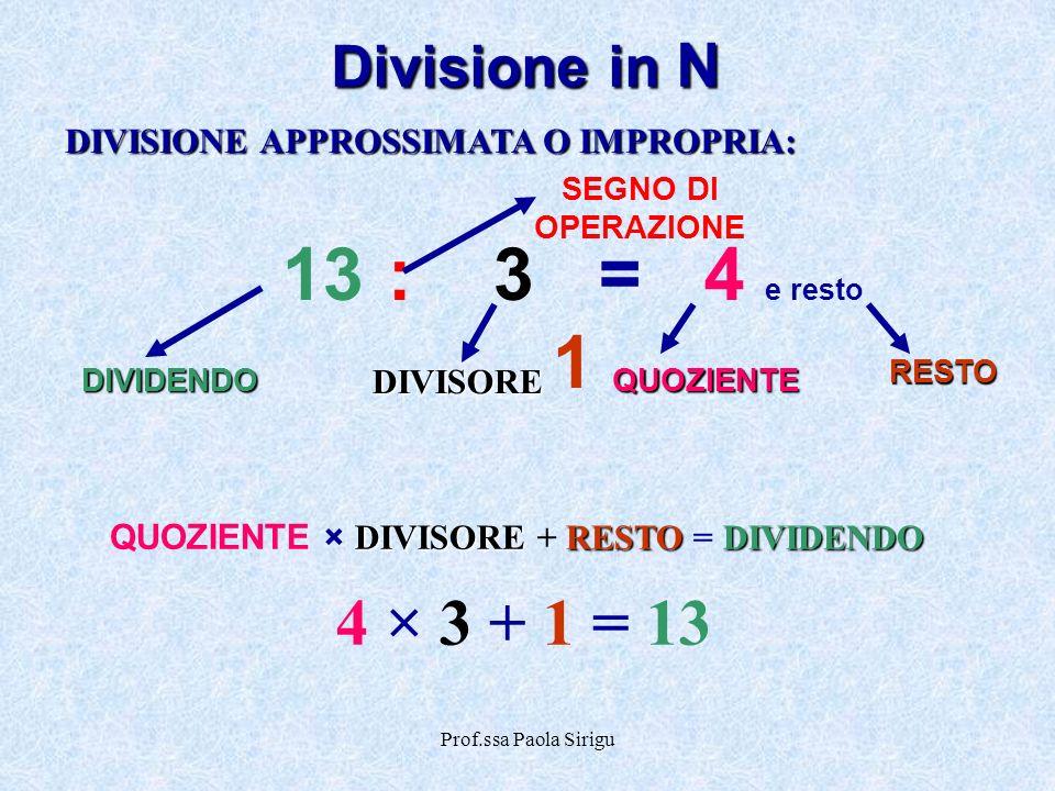 Prof.ssa Paola Sirigu Divisione in N DIVISIONE APPROSSIMATA O IMPROPRIA: DIVISORERESTODIVIDENDO QUOZIENTE × DIVISORE + RESTO = DIVIDENDO 4 × 3 + 1 = 1