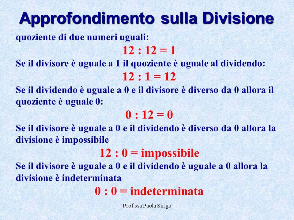 Prof.ssa Paola Sirigu Approfondimento sulla Divisione quoziente di due numeri uguali: 12 : 12 = 1 Se il divisore è uguale a 1 il quoziente è uguale al