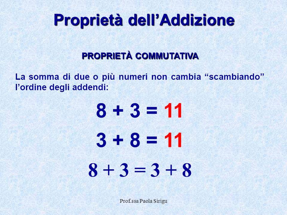 Prof.ssa Paola Sirigu Proprietà dellAddizione PROPRIETÀ COMMUTATIVA La somma di due o più numeri non cambia scambiando lordine degli addendi: 8 + 3 =