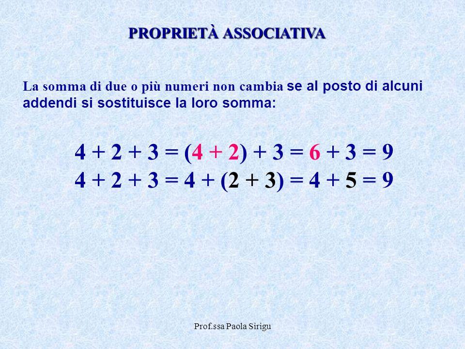 Prof.ssa Paola Sirigu La somma di due o più numeri non cambia se al posto di alcuni addendi si sostituisce la loro somma: 4 + 2 + 3 = (4 + 2) + 3 = 6