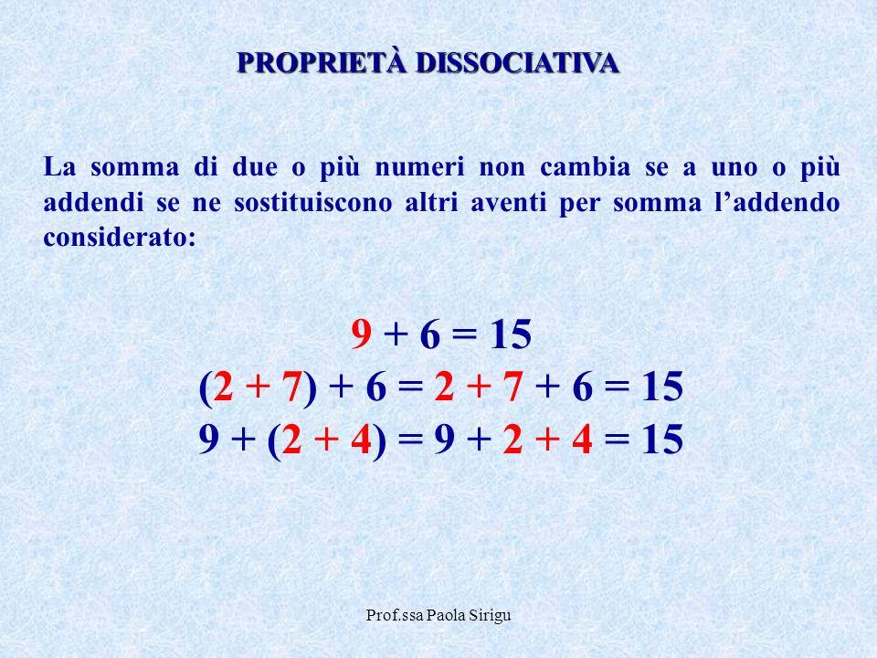 Prof.ssa Paola Sirigu La somma di due o più numeri non cambia se a uno o più addendi se ne sostituiscono altri aventi per somma laddendo considerato: