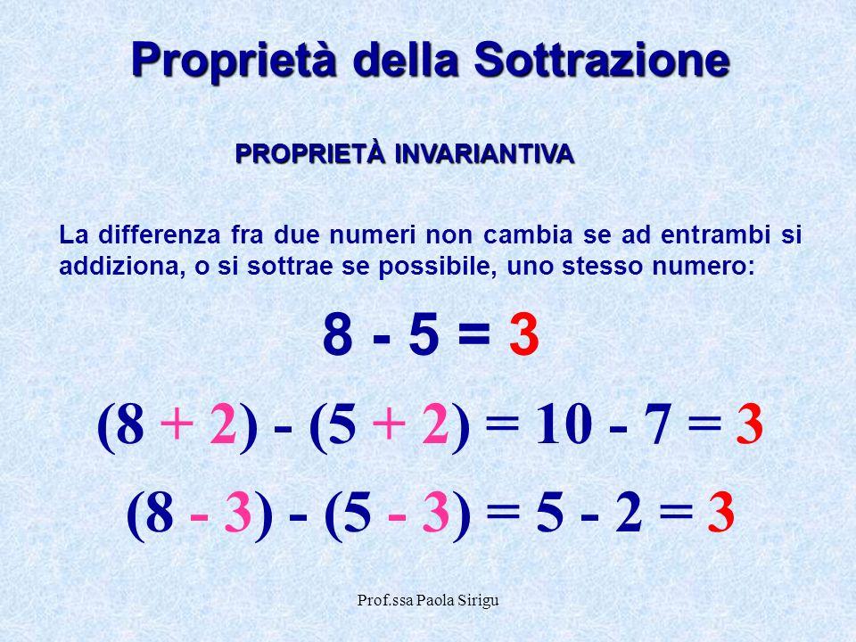 Prof.ssa Paola Sirigu Proprietà della Sottrazione La differenza fra due numeri non cambia se ad entrambi si addiziona, o si sottrae se possibile, uno