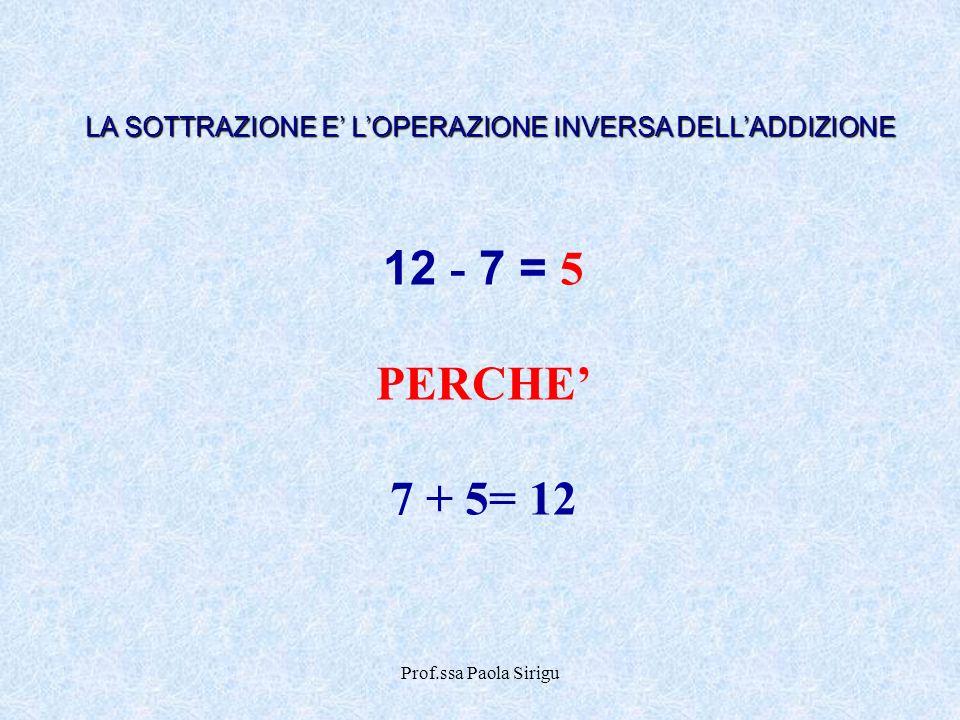 Prof.ssa Paola Sirigu 12 - 7 = 5 PERCHE 7 + 5= 12 LA SOTTRAZIONE E LOPERAZIONE INVERSA DELLADDIZIONE