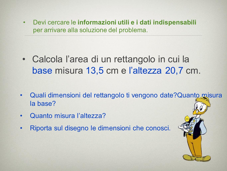 Devi cercare le informazioni utili e i dati indispensabili per arrivare alla soluzione del problema. Quali dimensioni del rettangolo ti vengono date?Q