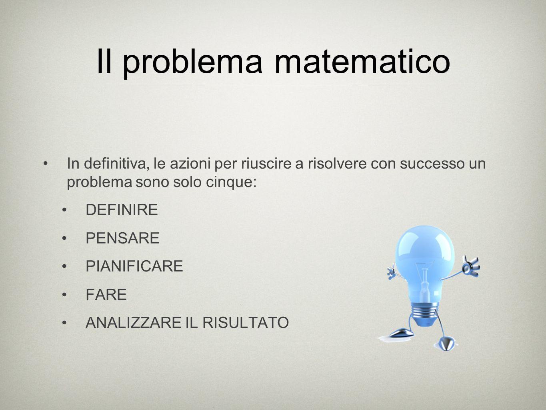Il problema matematico In definitiva, le azioni per riuscire a risolvere con successo un problema sono solo cinque: DEFINIRE PENSARE PIANIFICARE FARE