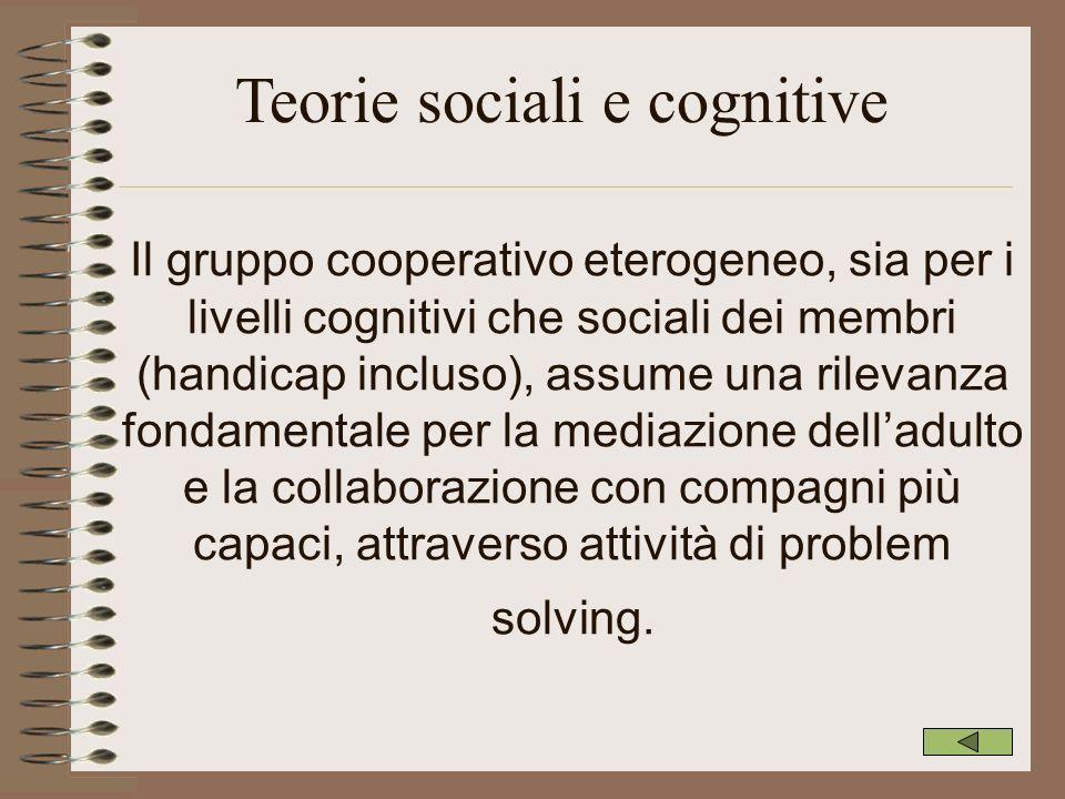 Il gruppo cooperativo eterogeneo, sia per i livelli cognitivi che sociali dei membri (handicap incluso), assume una rilevanza fondamentale per la medi