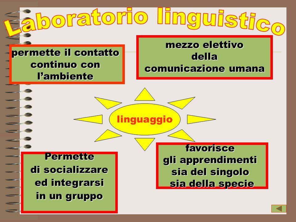mezzo elettivo della della comunicazione umana Permette di socializzare ed integrarsi ed integrarsi in un gruppo favorisce gli apprendimenti sia del s