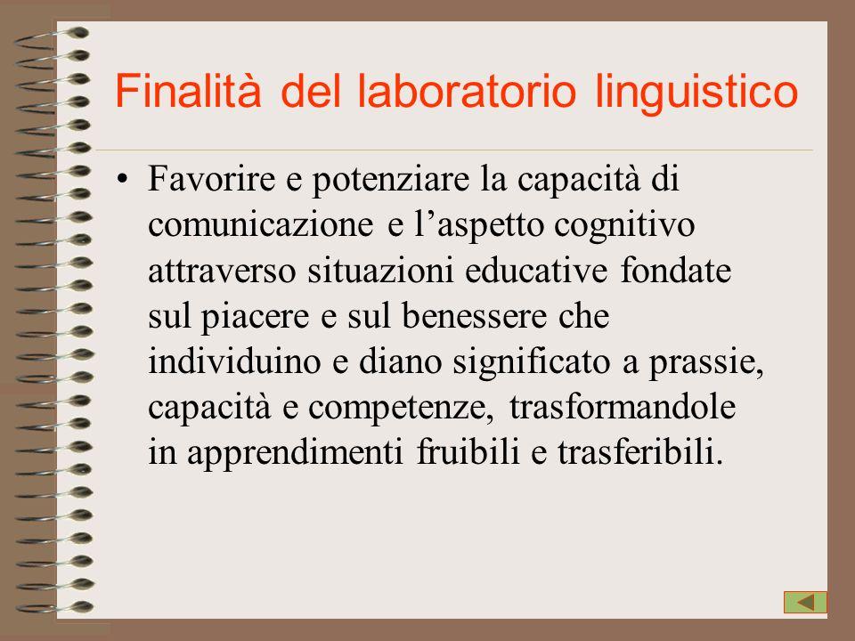 Finalità del laboratorio linguistico Favorire e potenziare la capacità di comunicazione e laspetto cognitivo attraverso situazioni educative fondate s