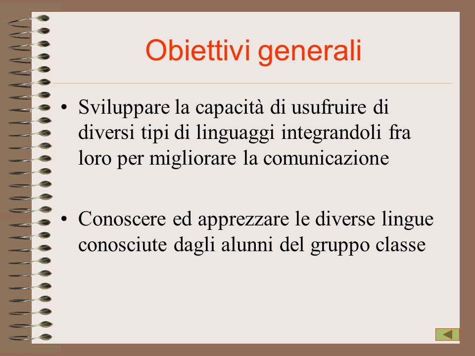 Obiettivi generali Sviluppare la capacità di usufruire di diversi tipi di linguaggi integrandoli fra loro per migliorare la comunicazione Conoscere ed