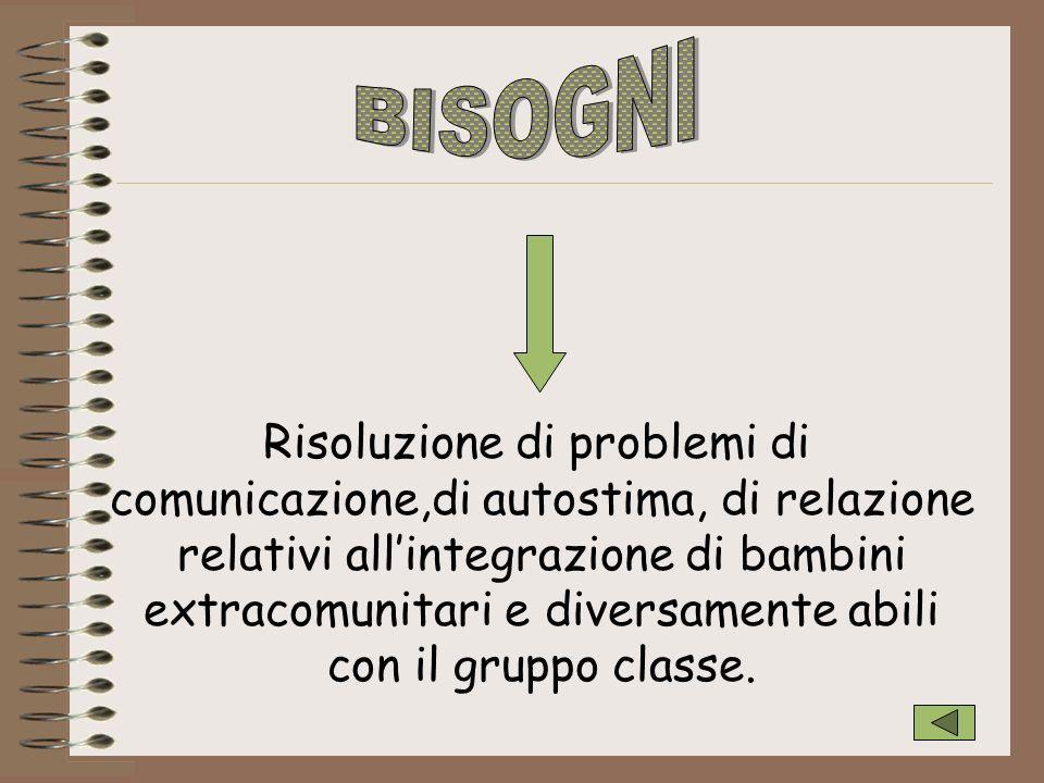 Risoluzione di problemi di comunicazione,di autostima, di relazione relativi allintegrazione di bambini extracomunitari e diversamente abili con il gr