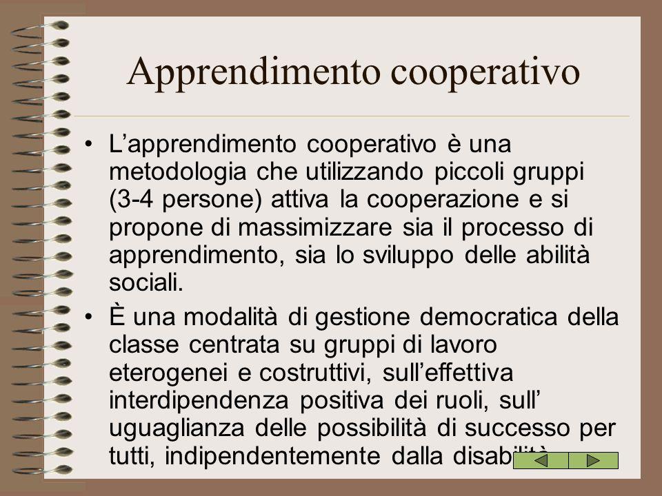 Apprendimento cooperativo Lapprendimento cooperativo è una metodologia che utilizzando piccoli gruppi (3-4 persone) attiva la cooperazione e si propon