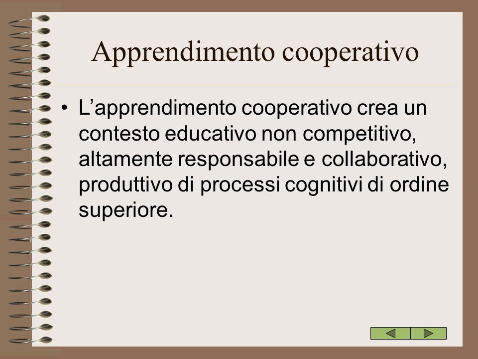 Apprendimento cooperativo Lapprendimento cooperativo crea un contesto educativo non competitivo, altamente responsabile e collaborativo, produttivo di