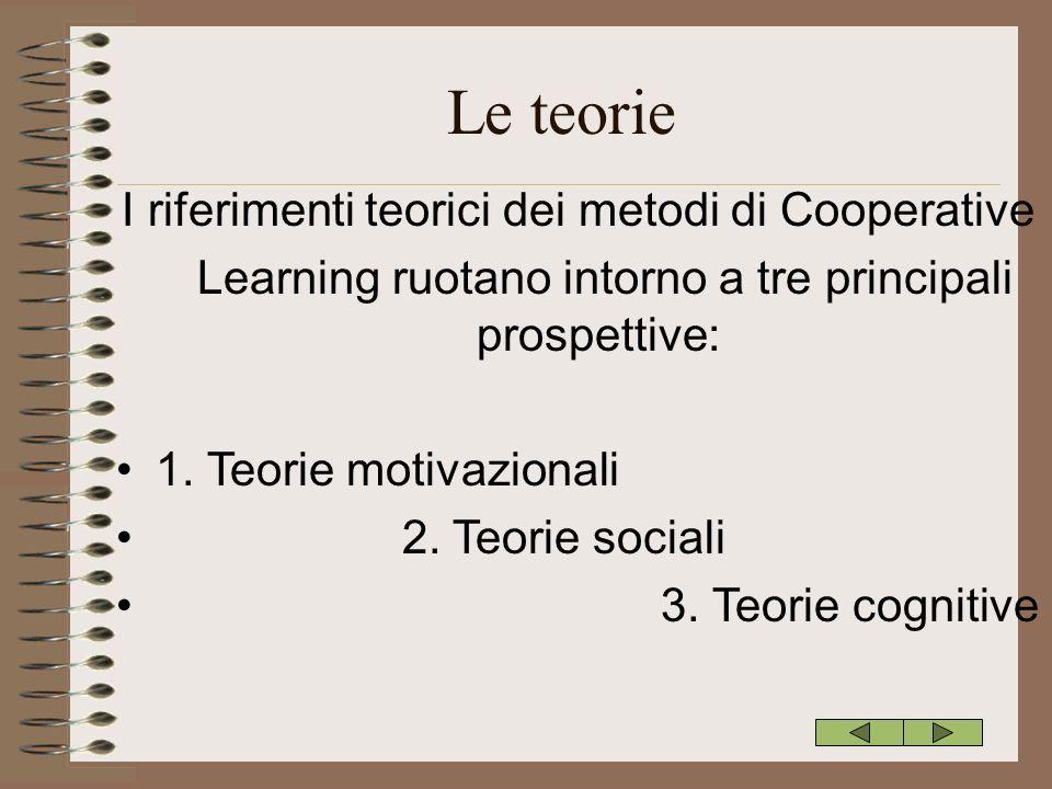 Le teorie I riferimenti teorici dei metodi di Cooperative Learning ruotano intorno a tre principali prospettive: 1. Teorie motivazionali 2. Teorie soc