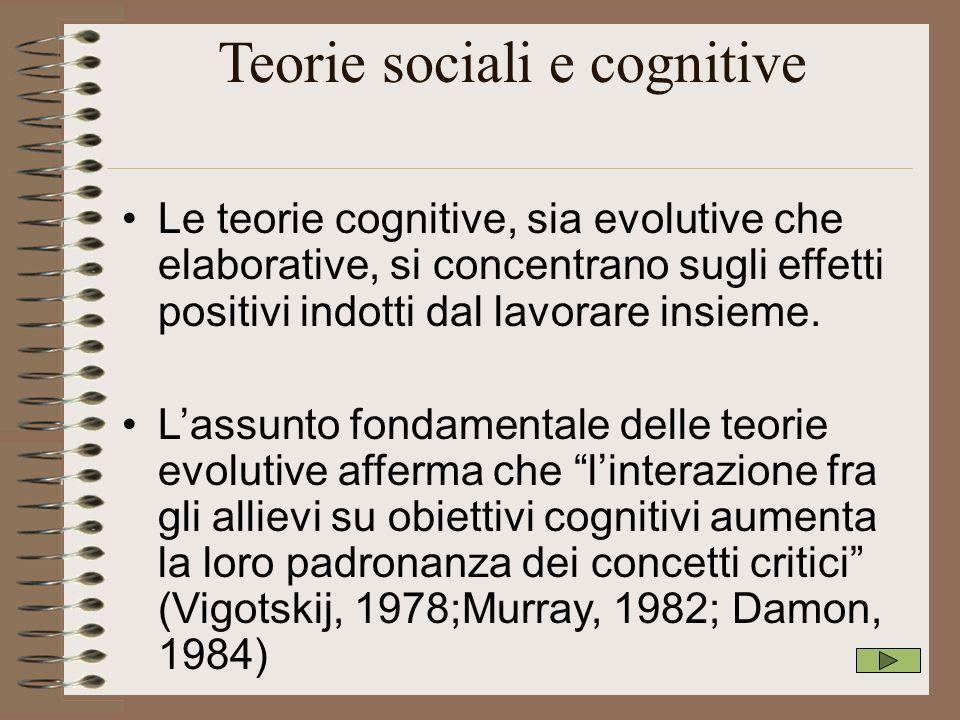 Teorie sociali e cognitive Le teorie cognitive, sia evolutive che elaborative, si concentrano sugli effetti positivi indotti dal lavorare insieme. Las