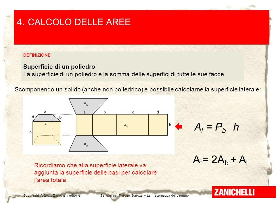 Copyright © 2011 Zanichelli editoreBergamini, Trifone, Barozzi – La matematica del triennio LA PARABOLA E LA SUA EQUAZIONE /1 5 4.CALCOLO DELLE AREE DEFINIZIONE Superficie di un poliedro La superficie di un poliedro è la somma delle superfici di tutte le sue facce.