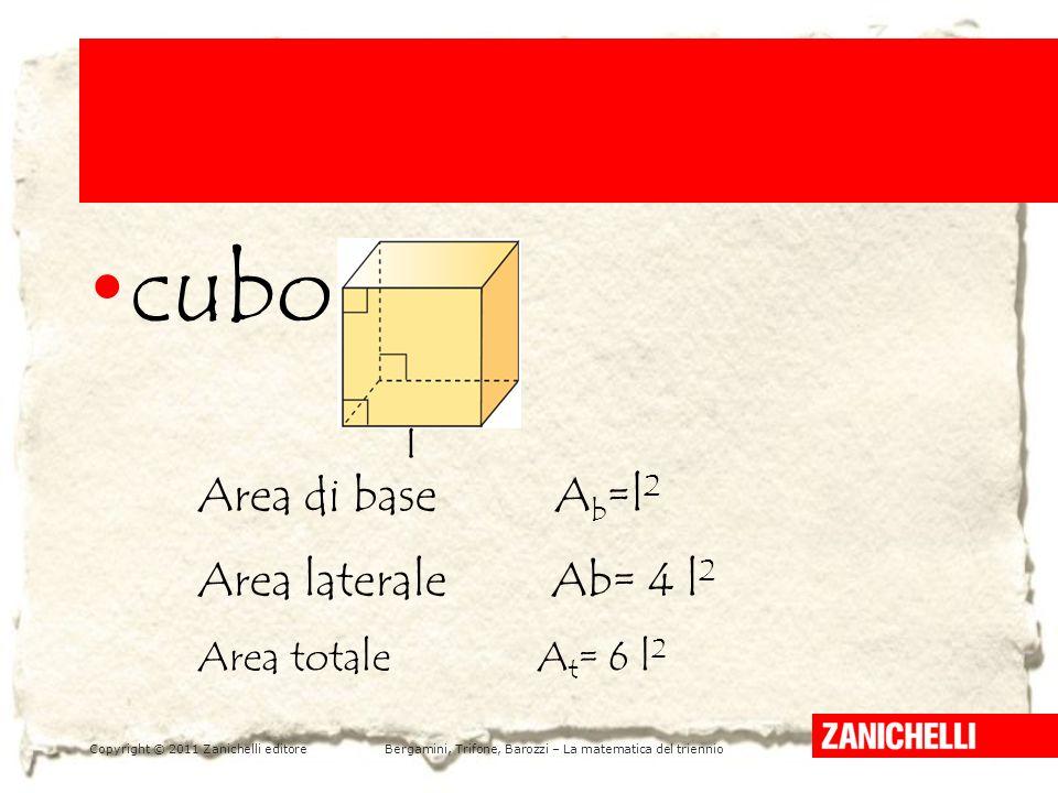 Copyright © 2011 Zanichelli editoreBergamini, Trifone, Barozzi – La matematica del triennio LA PARABOLA E LA SUA EQUAZIONE /1 5 cubo l Area di base A b =l 2 Area laterale Ab= 4 l 2 Area totale A t = 6 l 2
