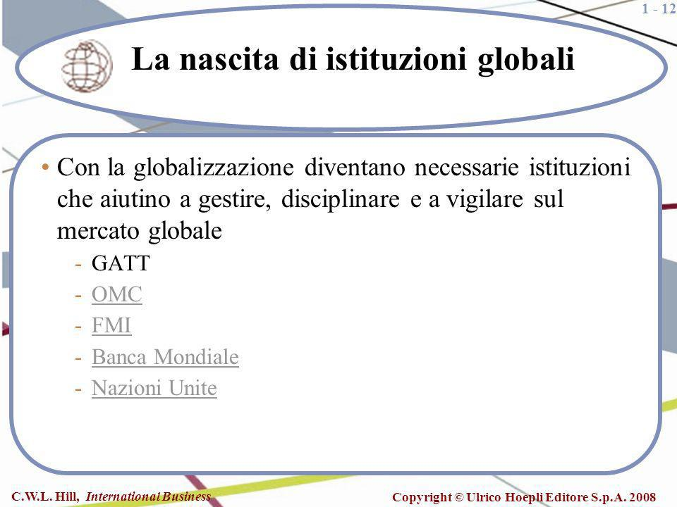 1 - 12 C.W.L. Hill, International Business Copyright © Ulrico Hoepli Editore S.p.A. 2008 La nascita di istituzioni globali Con la globalizzazione dive