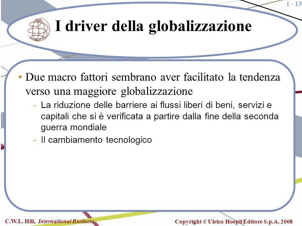 1 - 13 C.W.L. Hill, International Business Copyright © Ulrico Hoepli Editore S.p.A. 2008 I driver della globalizzazione Due macro fattori sembrano ave