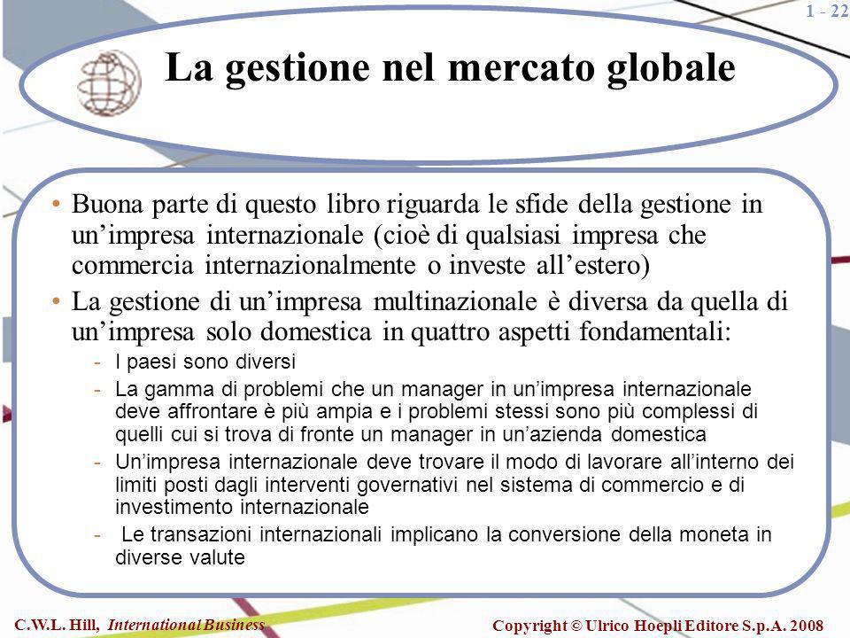 1 - 22 C.W.L. Hill, International Business Copyright © Ulrico Hoepli Editore S.p.A. 2008 La gestione nel mercato globale Buona parte di questo libro r