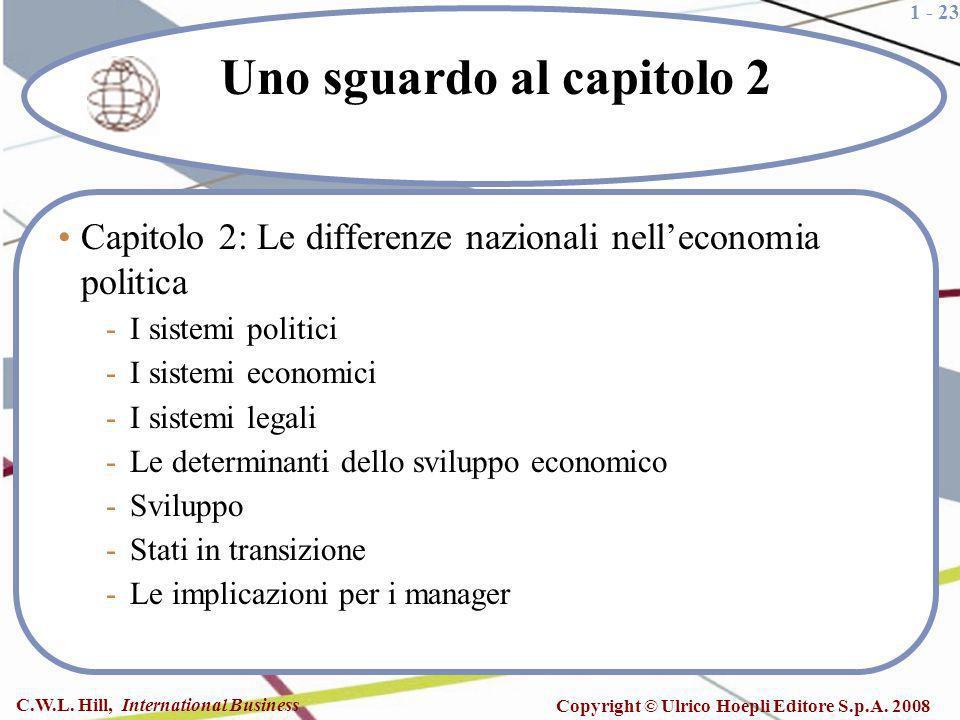 1 - 23 C.W.L. Hill, International Business Copyright © Ulrico Hoepli Editore S.p.A. 2008 Uno sguardo al capitolo 2 Capitolo 2: Le differenze nazionali