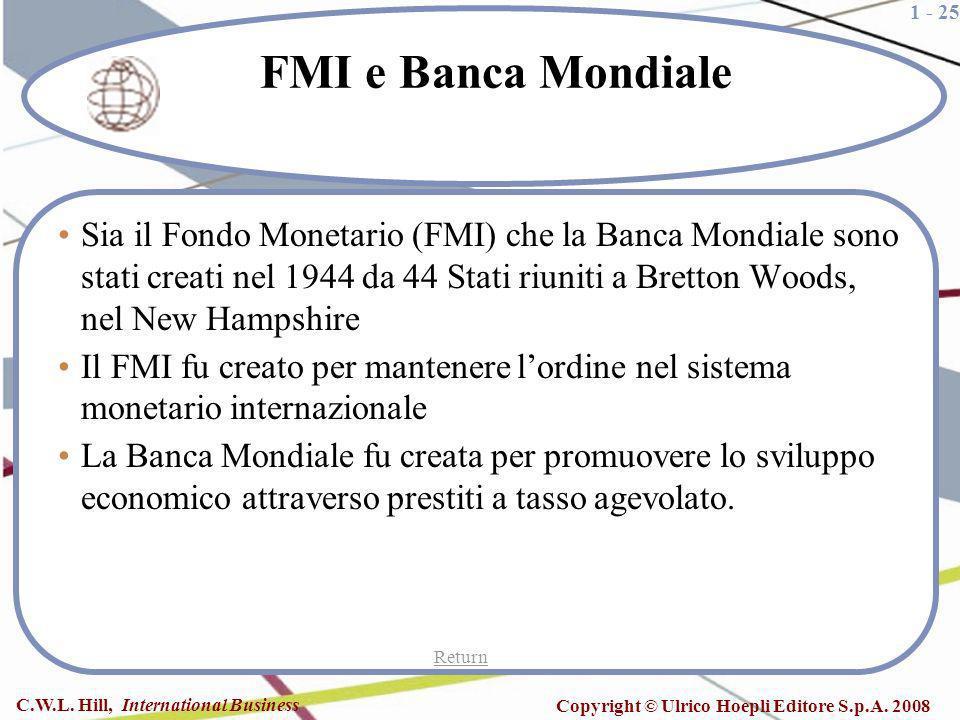 1 - 25 C.W.L. Hill, International Business Copyright © Ulrico Hoepli Editore S.p.A. 2008 FMI e Banca Mondiale Sia il Fondo Monetario (FMI) che la Banc