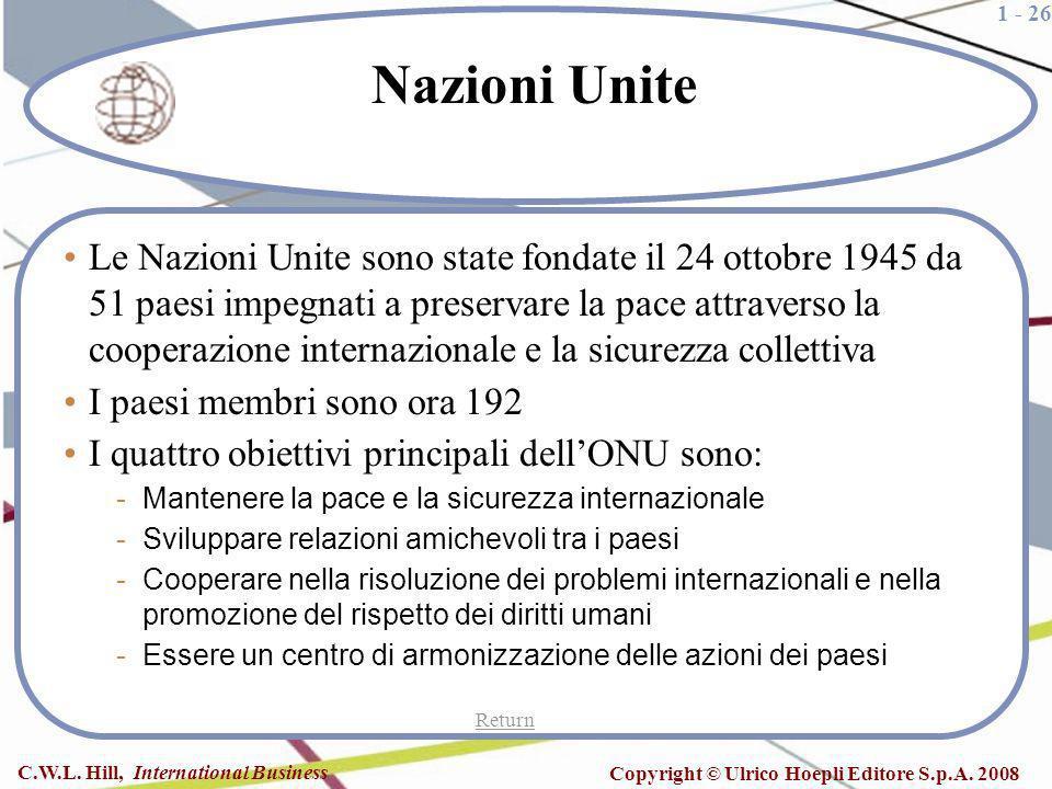 1 - 26 C.W.L. Hill, International Business Copyright © Ulrico Hoepli Editore S.p.A. 2008 Nazioni Unite Le Nazioni Unite sono state fondate il 24 ottob