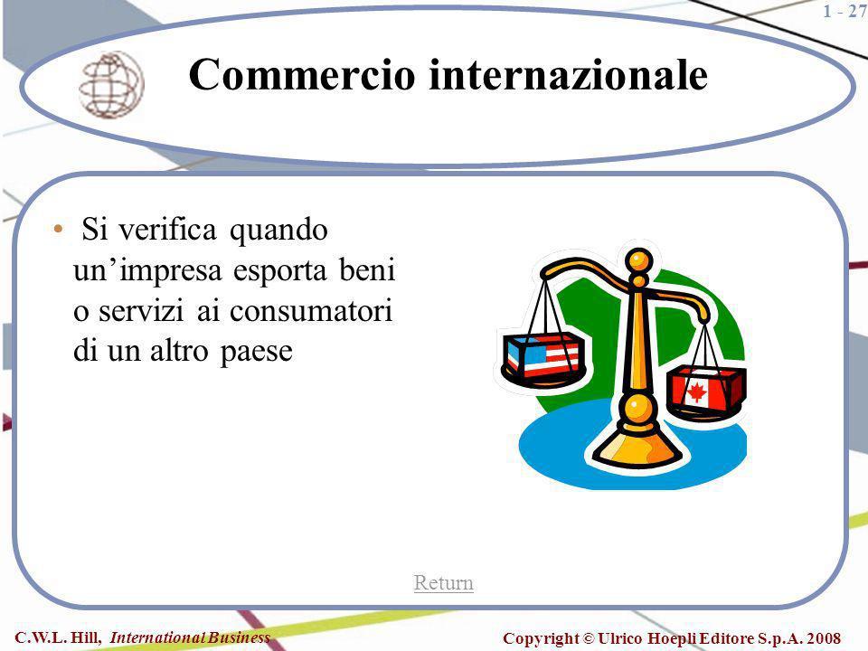 1 - 27 C.W.L. Hill, International Business Copyright © Ulrico Hoepli Editore S.p.A. 2008 Commercio internazionale Si verifica quando unimpresa esporta