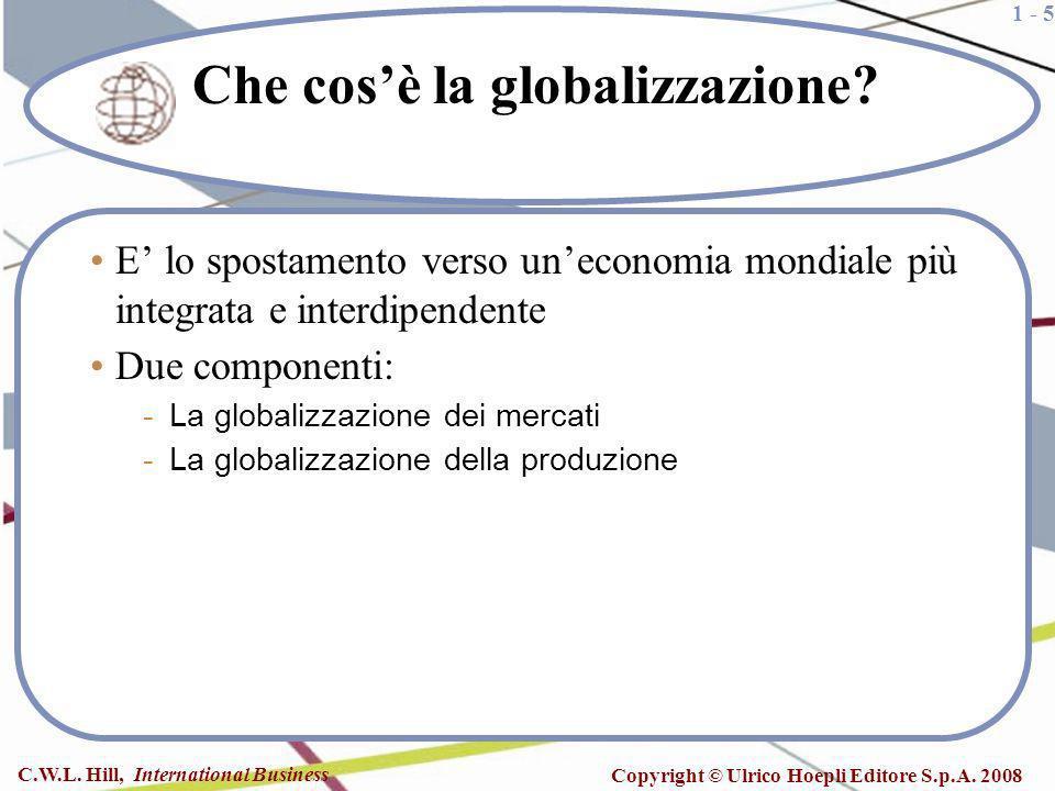 1 - 5 C.W.L. Hill, International Business Copyright © Ulrico Hoepli Editore S.p.A. 2008 Che cosè la globalizzazione? E lo spostamento verso uneconomia