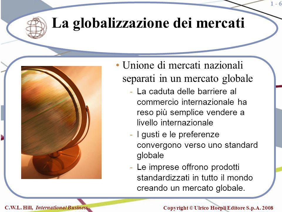 1 - 6 C.W.L. Hill, International Business Copyright © Ulrico Hoepli Editore S.p.A. 2008 La globalizzazione dei mercati Unione di mercati nazionali sep