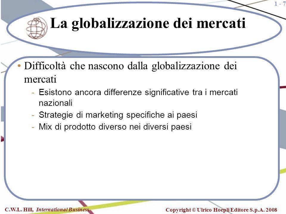 1 - 7 C.W.L. Hill, International Business Copyright © Ulrico Hoepli Editore S.p.A. 2008 La globalizzazione dei mercati Difficoltà che nascono dalla gl