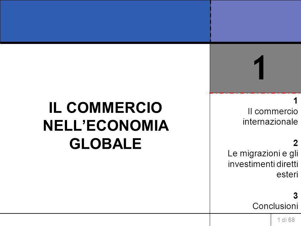 1 di 68 IL COMMERCIO NELLECONOMIA GLOBALE 1 Il commercio internazionale 2 Le migrazioni e gli investimenti diretti esteri 3 Conclusioni 1