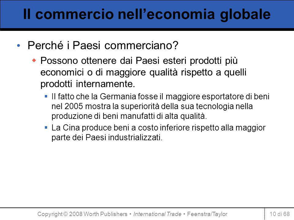 10 di 68 Il commercio nelleconomia globale Perché i Paesi commerciano? Possono ottenere dai Paesi esteri prodotti più economici o di maggiore qualità
