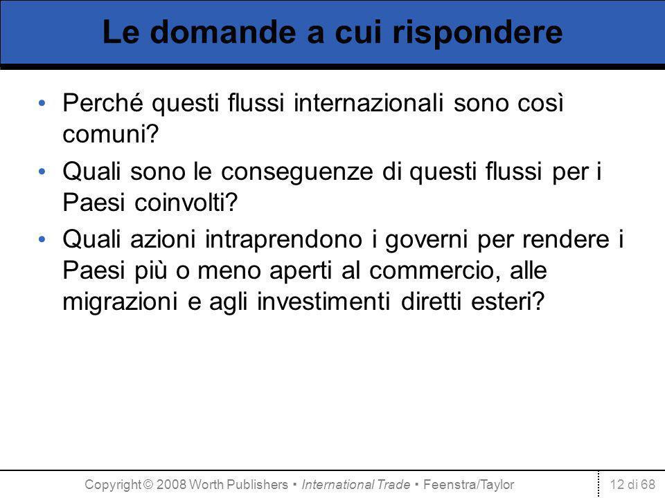 12 di 68 Le domande a cui rispondere Perché questi flussi internazionali sono così comuni? Quali sono le conseguenze di questi flussi per i Paesi coin