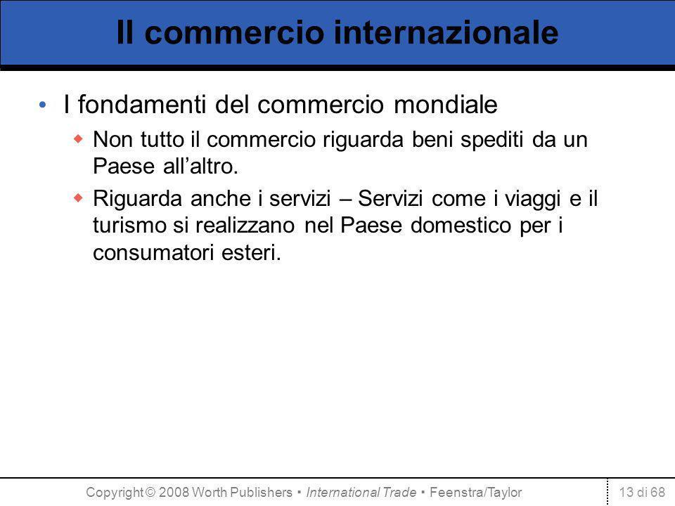13 di 68 Il commercio internazionale I fondamenti del commercio mondiale Non tutto il commercio riguarda beni spediti da un Paese allaltro. Riguarda a