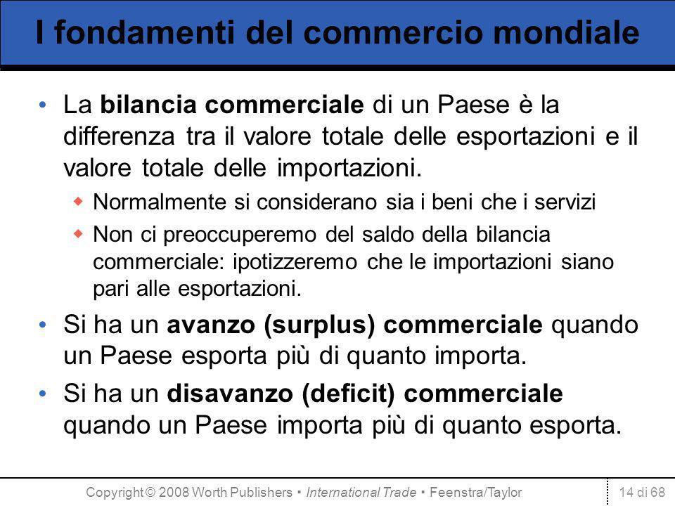 14 di 68 I fondamenti del commercio mondiale La bilancia commerciale di un Paese è la differenza tra il valore totale delle esportazioni e il valore t