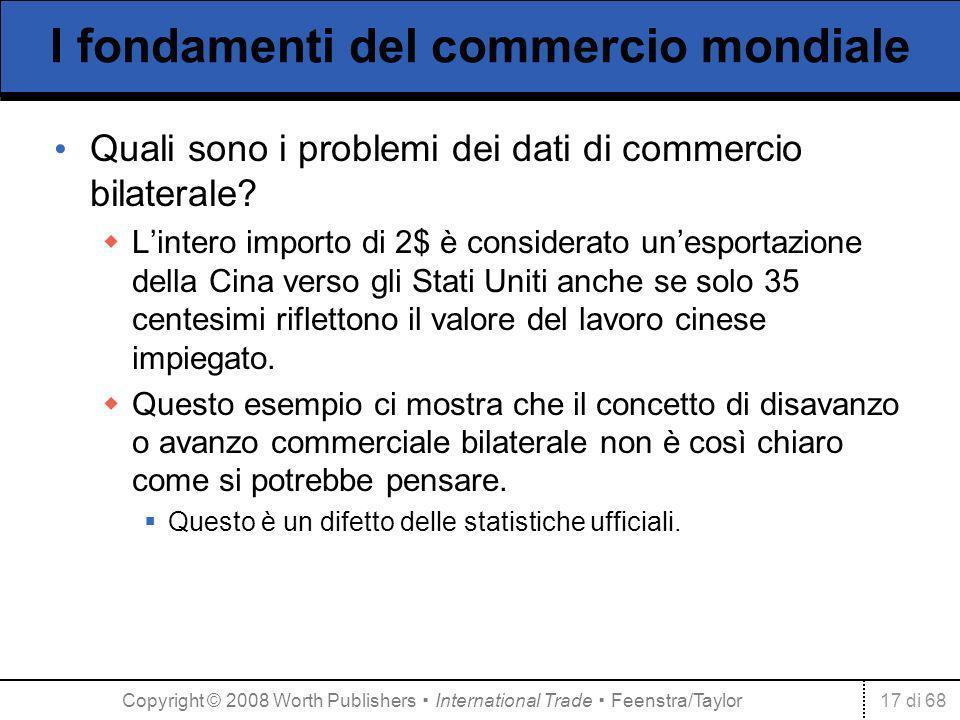 17 di 68 I fondamenti del commercio mondiale Quali sono i problemi dei dati di commercio bilaterale? Lintero importo di 2$ è considerato unesportazion