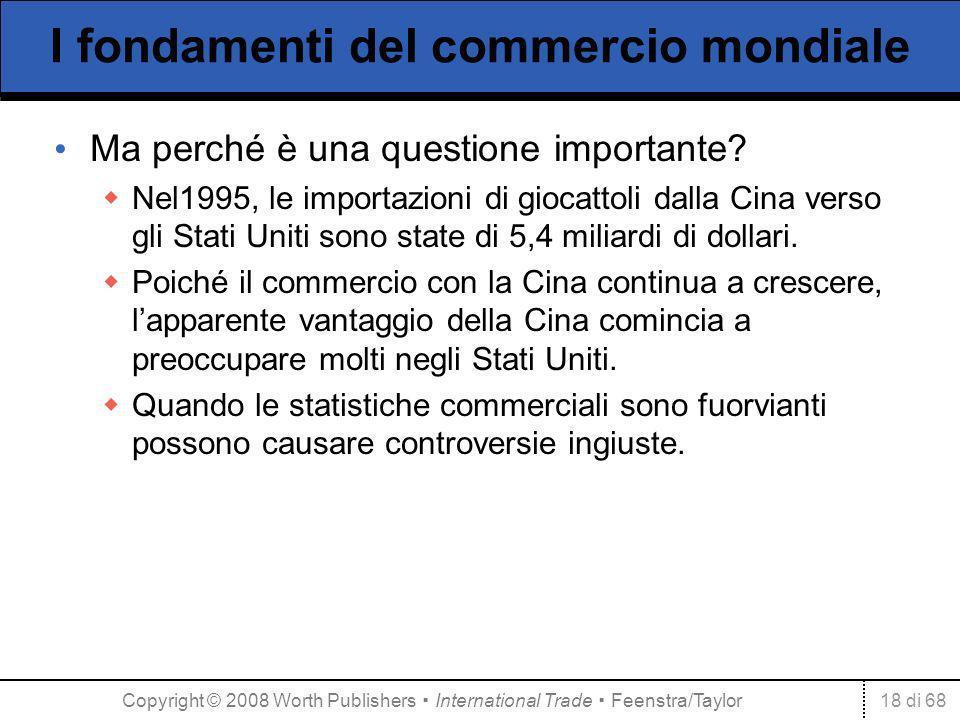 18 di 68 I fondamenti del commercio mondiale Ma perché è una questione importante? Nel1995, le importazioni di giocattoli dalla Cina verso gli Stati U