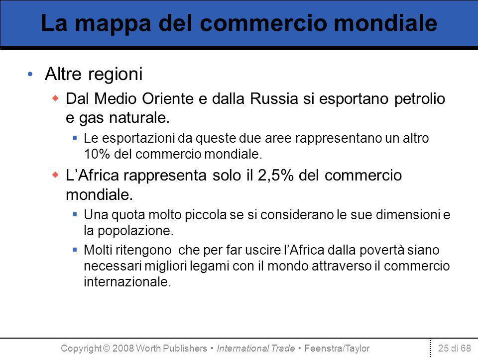 25 di 68 La mappa del commercio mondiale Altre regioni Dal Medio Oriente e dalla Russia si esportano petrolio e gas naturale. Le esportazioni da quest