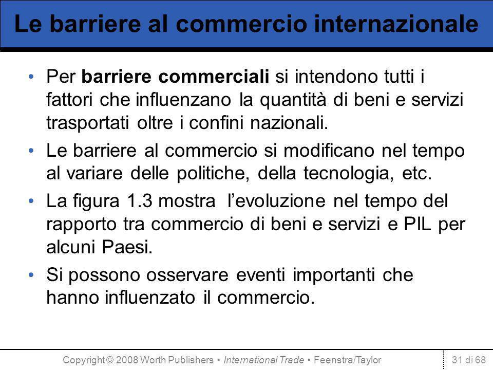 31 di 68 Le barriere al commercio internazionale Per barriere commerciali si intendono tutti i fattori che influenzano la quantità di beni e servizi trasportati oltre i confini nazionali.