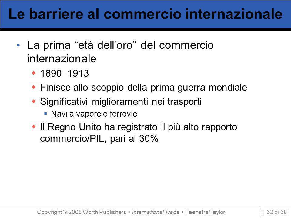 32 di 68 Le barriere al commercio internazionale La prima età delloro del commercio internazionale 1890–1913 Finisce allo scoppio della prima guerra m