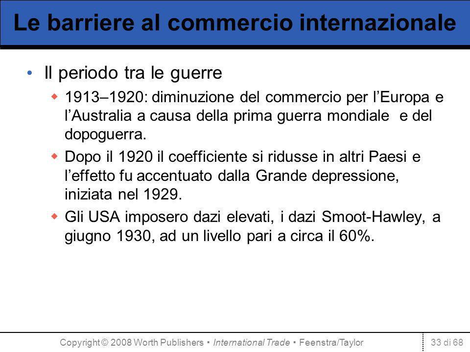 33 di 68 Le barriere al commercio internazionale Il periodo tra le guerre 1913–1920: diminuzione del commercio per lEuropa e lAustralia a causa della prima guerra mondiale e del dopoguerra.